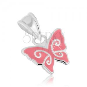 925 ezüst medál, pillangó rózsaszín fénymázzal és fényes vonalakkal