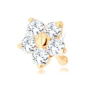 Orrpiercing 585 aranyból - egyenes, csillogó virág átlátszó cirkóniával