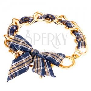 Karkötő, arany színű lánc, kockás szalag, amerikai kapocs