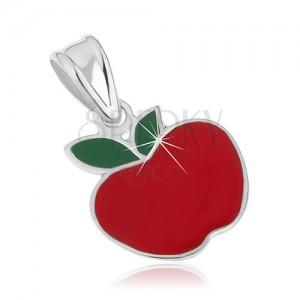925 ezüst medál - piros színű alma, zöld levelekkel, fénymázzal fedve