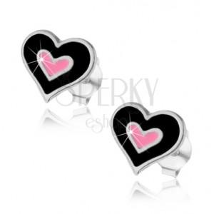 925 ezüst bedugós fülbevaló, dupla szív fekete és rózsaszín fénymázzal fedve