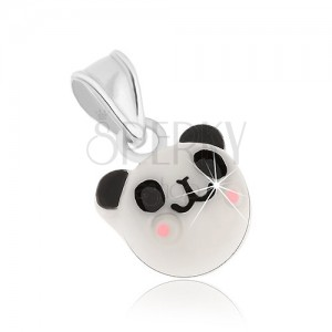 925 ezüst medál, vidám fehér panda - fekete fülek és szemek, rózsaszín pofa