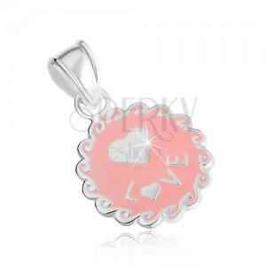 Lapos és kerek medál 925 ezüstből, rózsaszín színű, hullámok, szív, felirat