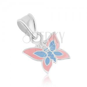 925 ezüst medál, lapos pillangó, világosrózsaszín és kék fénymázzal