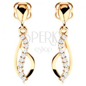 585 arany fülbevaló - aszimmetrikus könnycsepp körvonalú és csillogó cirkóniás hullám