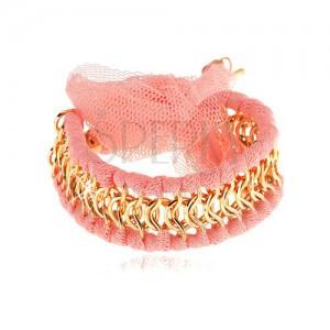 Karkötő, összefonódó arany színű szemek, rózsaszín hálós sávval, masni