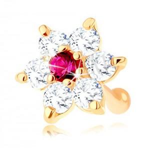 585 arany orrpiercing, egyenes - fényes virág rubinból és cirkóniából