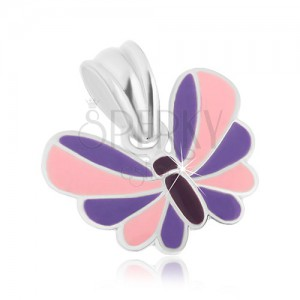 925 ezüst medál, pillangó lilásrózsaszín szárnyakkal, díszítőmáz