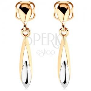 14K arany fülbevaló - kétszínű, hosszúkás könnycsepp kivágással