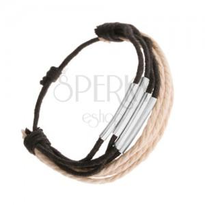 Fekete és bézs színű zsinóros karkötő, fényes acélhengerekkel