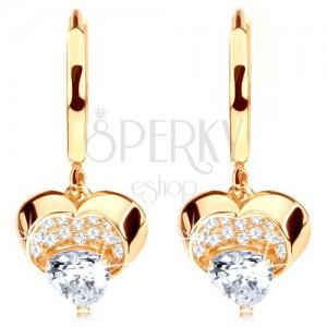 585 arany fülbevaló - kör fényes szívvel lelógatva, átlátszó cirkónia
