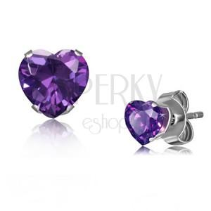 Ezüst árnyalatú acél fülbevaló, lila színű, apró cirkóniás szív