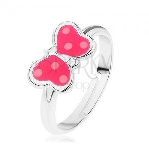 Állítható gyűrű 925 ezüstből, pillangó - rózsaszín fénymáz, fehér pontok
