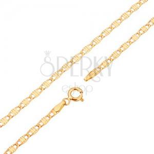 14K sárga színű arany lánc - hosszúkás szemek bevágással díszítve, 445 mm