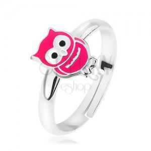 925 ezüst gyűrű, állítható, fényes rózsaszín bagoly, precíz részletekkel