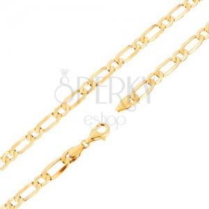 Masszív lánc 9K sárga színű aranyból - nagyobb és kisebb ovális szemekben, 500 mm