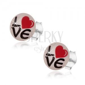 Bedugós fülbevaló 925 ezüstből, kerek - fehér felületű, felirattal és szívvel