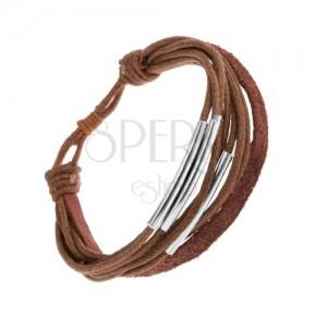 Barna színű zsinóros karkötő, ezüst színű acéltáblával