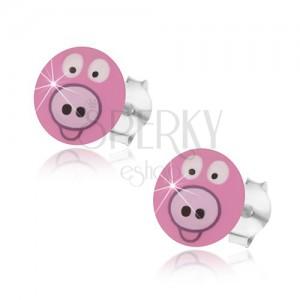 925 ezüst fülbevaló, mosolygós rózsaszín malac, kidomborodó felület