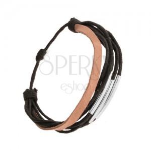 Feketés barna bőr karkötő, fényes mozgatható acélcsövek