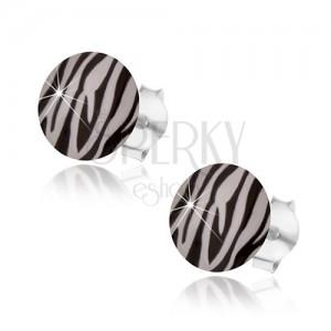 Stekkeres fülbevaló 925 ezüst, zebra csíkos minta, átlátszó fénymáz