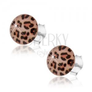 925 ezüst fülbevaló, domborű fénymáz, leopárd minta, stekker