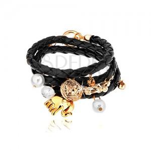 Fekete színű fonott karkötő, medálok - gyöngyök, tiszta cirkónia, elefánt, érme