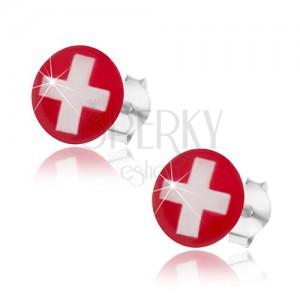 925 ezüst fülbevaló, svájci zászló - piros háttér, fehér kereszt