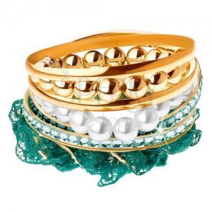 Multikarkötő, gyöngyök, türkiz csipke, karika arany színben