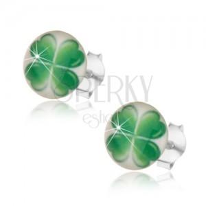 925 ezüst fülbevaló, fehér hátteren szerencsét hozó zöld négylevelű lóhere