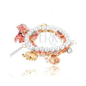 Multikarkötő, gyöngyök, két lánc, szalag, medálok - elefánt, érme