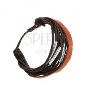 Állítható karkötő, fekete zsinórok, acélcsövek, bőrsáv