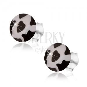 925 ezüst fülbevaló, fehér háttér fekete foltokkal, domború fénymázzal díszítve