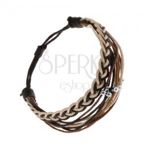 Fonott karkötő zsinórból, fekete, barna és bézs árnyalatban, acélgolyókkal