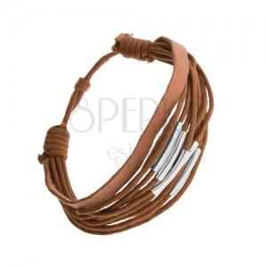 Barna színű állítható karkötő, zsinórok és bőrsáv, acélcsövek