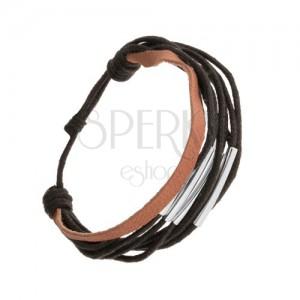 Zsinóros karkötő, állítható méretű, fekete és barna színben, acélcsövekkel