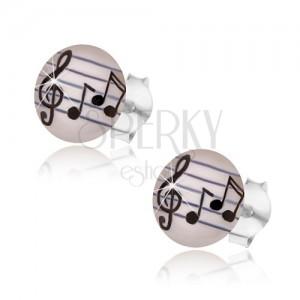 925 ezüst fülbevaló, átlátszó fénymáz, zenei motívum - hangjegyek, violinkulcs