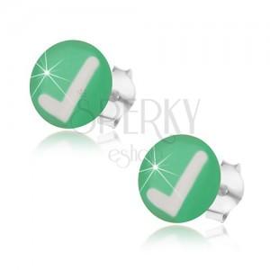 Bedugós fülbevaló 925 ezüstből, zöld háttér, fehér pipa, fénymáz