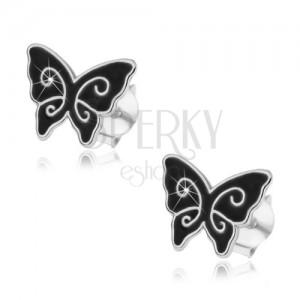 925 ezüst fülbevaló, fekete fénymázas pillangó, fényes spirálok, stekker