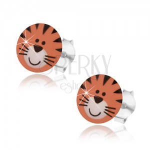 Aranyos tigris alakú 925 ezüst fülbevaló, narancssárga árnyalatban, fekete csíkokkal