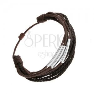 Karkötő, sötétbarna és fekete zsinórok, vékony acélcsövek