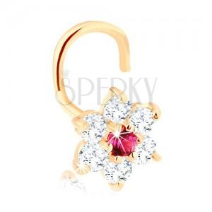 Hajlított orrpiercing 14K sárga árnyalatú aranyból - virág cirkóniákból és rubinból