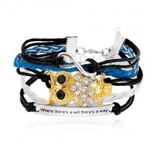 Fonott karkötő, színes zsinórok, INFINITY szimbólum, bagoly, biléta felirattal