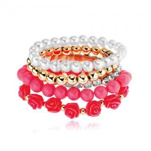 Multikarkötő - arany, fehér és rózsaszín színű gyöngyök, korall rózsa, átlátszó cirkóniás