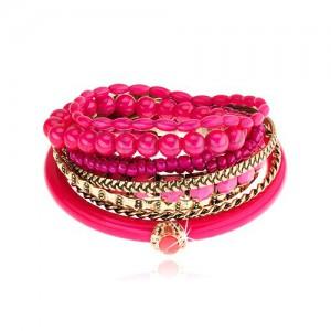 Multikarkötő - arany és fukszia árnyalat, különböző gyöngyök, rózsaszín cirkónia
