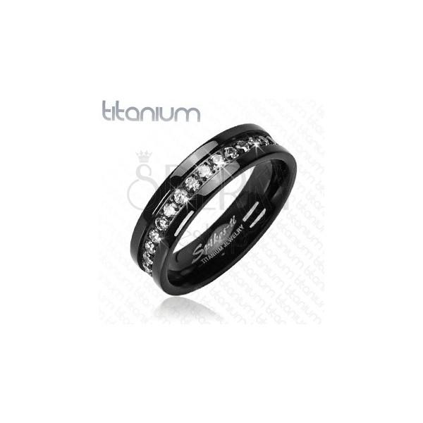 Fekete titánium gyűrű cirkóniaövvel