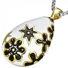 Fehér könnycsepp medál acélból - arany és fekete virágok
