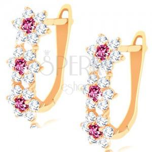 585 arany fülbevaló - három fénylő virág cirkóniából és rubinból