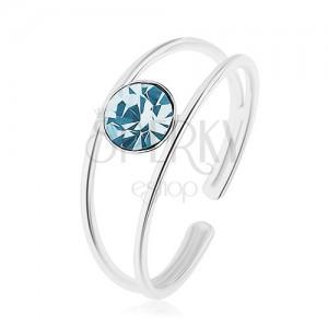 925 ezüst állítható méretű gyűrű, kék cirkónia