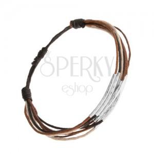 Karkötő zsinórokból fekete, barna, fahéjbarna és bézs színben, acél csövecskék